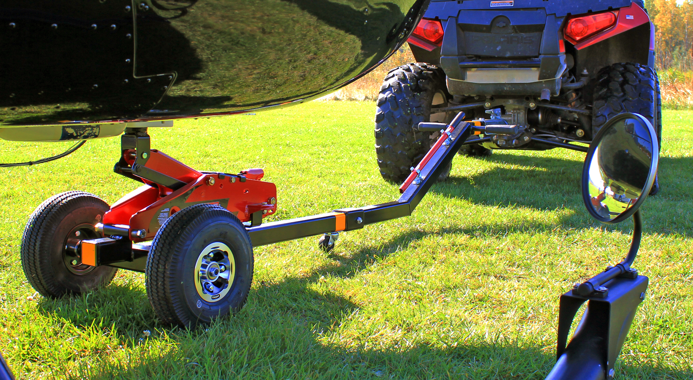 Robinson Towbar attached to R44 on grass