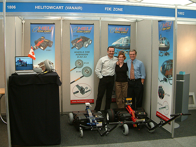 Bruno, Nathalie and Lucien at Helitech convention 2005 in Cambridge, UK