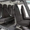 Angular View<br>Rear: Individual Seats<br>Rear Half Moon Head Rest Cushions<br>Front: Crashworthy Regular Seats<br>Cover material: Anthracite Tricot